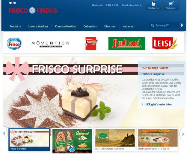 Screenshot Nestlé Frisco Findus CH Website