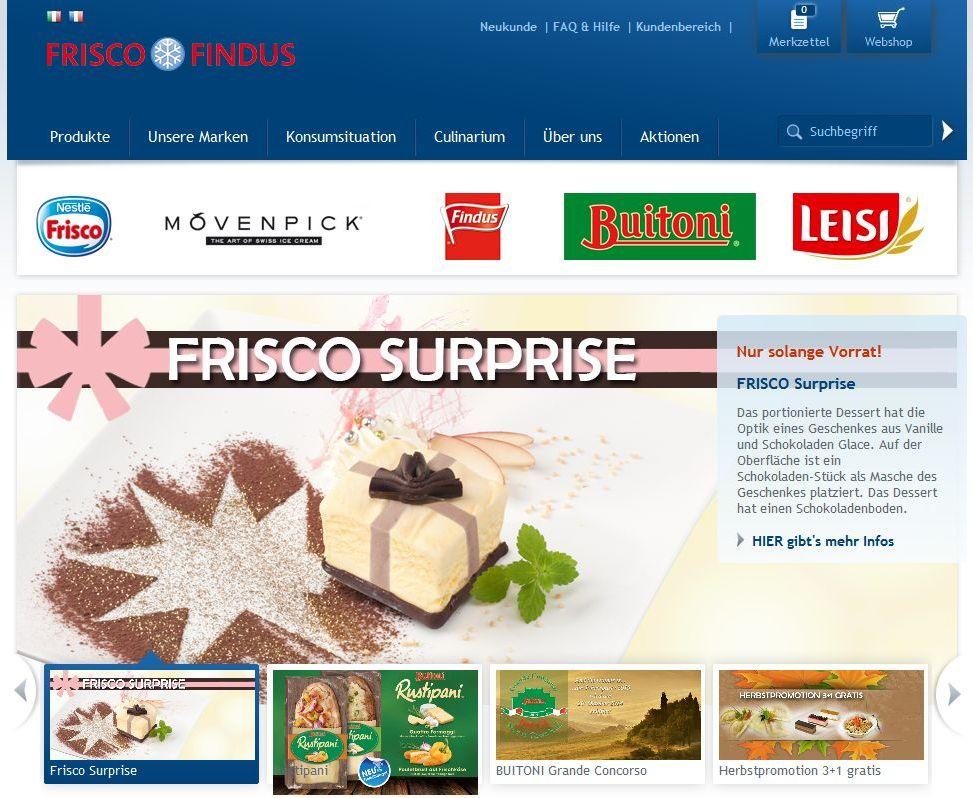 Screenshot Nestlé Frisco Findus CH Website